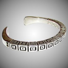 Navajo Sterling Silver Cuff Bracelet with Heavy Hand Etched Tribal Symbols Design 47gr Artist Signed Wylie Secatero