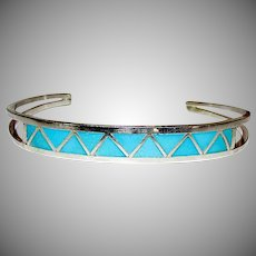 Native American Zuni Sterling Silver 925 Turquoise Mosaic Inlay Cuff Bracelet by Zuni Artist Claudine Haloo