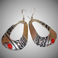 Native American Navajo TOMMY SINGER Sterling Silver Coral Statement Dangle Earrings Tribal Design