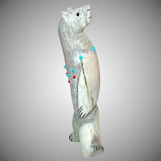 Zuni Bear Fetish Deer Antler Hand Carved by Esteban Najera Turquoise Coral Accents