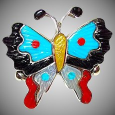 Native American Zuni Tamara Pinto Sterling Silver Turquoise Coral Inlay Butterfly Statement Ring Size 7
