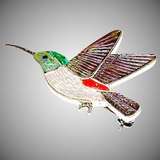 Zuni Sterling Silver Turquoise Coral Shell MOP Humming Bird Brooch/ Pin Pendant Figurals Brooch Eric Lonjose