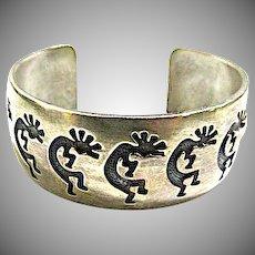 NAVAJO Felix Joe Sterling Silver Kokopelli Statement Cuff Bracelet 45 grams