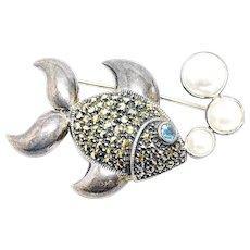 Vintage Designer Judith Jack Sterling Silver Marcasites Blue Topaz Pearl Whimsical Fish Brooch Pin