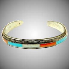 Old Pawn Zuni Sterling Silver Turquoise Coral Mother of Pearl Inlay Hand Etched Design Cuff Bracelet Smaller Wrists 25 grams