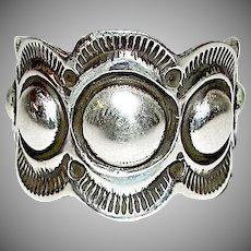 Native American Navajo Alex Sanchez Sterling Silver Men Band Ring Size 11