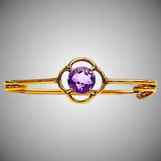 Antique Edwardian 9Ct Gold Amethyst Deco Style Brooch Pin