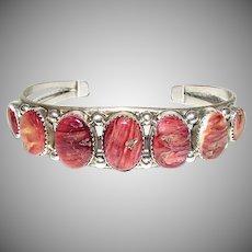 Vintage Navajo Sterling Silver Purple Sunset Natural Spiny Oyster Cuff Bracelet Native American Signed Bracelet by Pat Yazzie