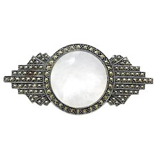 Vintage Designer Judith Jack Deco Style Brooch Pin Sterling Silver 925 Marcasites Mother of Pearl