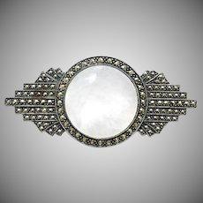 Vintage Designer Judith Jack Deco Style Brooch Pin Sterling Silver 925 Marcasites Mother of Pearl