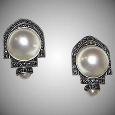 Vintage Designer Judith Jack Earrings 925 Sterling Silver Marcasites Mabe Pearl Omega Clip Deco Style Earrings
