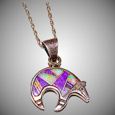 Navajo Sterling Silver Sugilite Opal Channel Inlay Reversible Bear Pendant Necklace