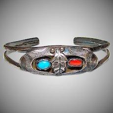 Old Pawn Zuni Myra Nastacio Sterling Silver Coral Turquoise Cuff Bracelet Shadowbox Squash Blossom Design