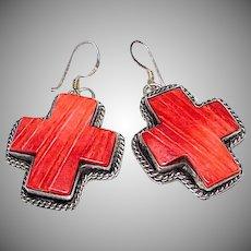 Navajo Anna Begay Sterling Silver Orange Spiny Oyster Cross Earrings