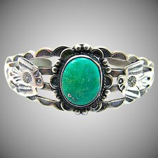 Old Pawn Navajo Sterling Silver Turquoise Thunderbird Cuff Bracelet Hand Etched Design Fred Harvey Era