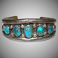 Old Pawn Navajo Sterling Silver Kingman Turquoise Cuff Bracelet 45Gr
