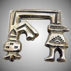 Old Pawn Navajo Felix Joe Sand Cast Yei Brooch Pin Signed