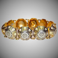 Vintage Deco Style  Damascene Enamel Link Bracelet with a Safety Chain