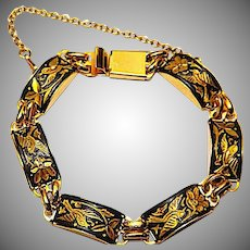 Vintage Art Nouveau Style Damascene Enamel Link Bracelet Bird Design with a Safety Chain