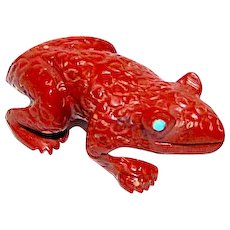 Zuni Frog Fetish Hand Carved Red Pipestone By Collectible Karen Zuni