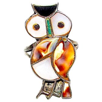Old Pawn Zuni Sterling Silver Turquoise Jet Shell MOP Inlay Owl Ring Size 6 Native American