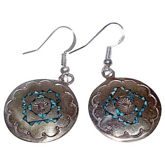Navajo Charlie Singer Sterling Silver Chip Turquoise Inlay Pierced Dangle Earrings