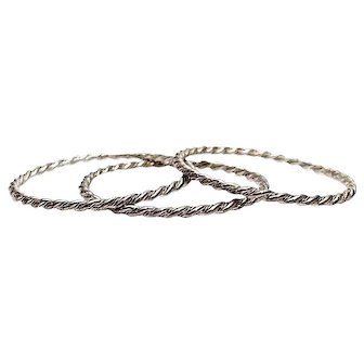 Navajo Bangle Bracelets Set of 3 Sterling Silver 925 Native American Twisted Rope Design 50 grams