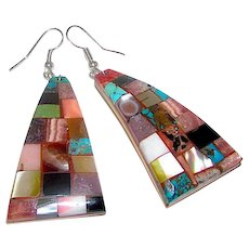 Navajo Bryan Tom Earrings Sterling Silver Shell Turquoise Coral Mosaic Inlay Design