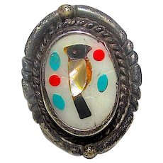 Old Pawn Zuni Bird Ring Size 6 Sterling Coral MOP Shell Turquoise Inlay Inlay Native American