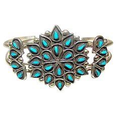 Vintage Zuni Sterling Silver Sleeping Beauty Mine Turquoise Cluster Rosette Cuff Bracelet