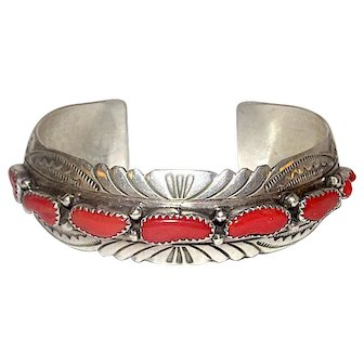 Navajo Coral Cuff Bracelet Sterling Silver Mediterranean Coral Old Pawn Native American Vintage Jewelry By Collectible Billie Shaw