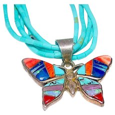 Navajo Calvin Begay Butterfly Pendant on Turquoise Choker Necklace Sterling Silver Mother of Pearl Jet Onyx Inlay Butterfly Pendant Necklace