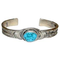 Native American Navajo Eugene Hale Kingman Sterling Silver Turquoise Cuff Bracelet