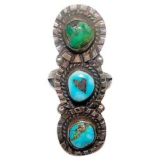 Old Pawn Navajo Sterling Silver Cerrillos Turquoise Statement Ring Size 8.5 Native American Jewelry