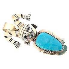 Navajo Sterling Silver Blue Diamond Mine Turquoise Koshare Clown Kachina Pin Pendant Highly Collectible Nelson Morgan Singed