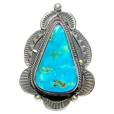 Navajo Bisbee Turquoise Ring Size 7.5 Native American Sterling Silver Statement Piece by Juanita Long