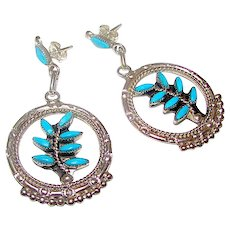 Vintage Zuni Sterling Silver Sleeping Beauty Mine Turquoise Dangle Statement Earrings