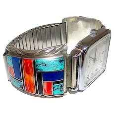 Vintage Navajo Sterling Silver Turquoise Coral Channel Inlay Watch Adjustable Band with Watch
