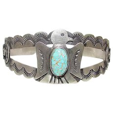 Old Pawn Navajo Sterling Silver Dry Creek Turquoise Thunderbird Cuff Bracelet by the highly collectible Navajo Artist Juanita Long