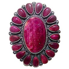 Navajo Anthony Skeets Sterling Silver Purple Spiny Oyster Huge Statement Ring Size 8.5