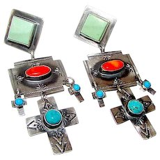 Navajo Rita Lee Sterling Silver Turquoise Orange Spiny Oyster Statement Cross Earrings