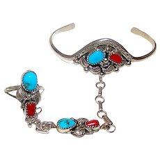 Navajo Old Pawn Sterling Silver Kingman Turquoise Mediterranean Coral Bracelet Ring Set Squash Blossom Design. Ring Size 7.5.