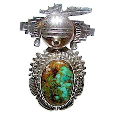 Navajo Kachina Ring Sterling Silver Bisbee Turquoise Size 7 Highly Collectible Benny Ration Singed