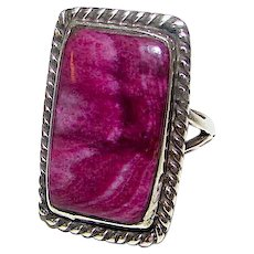Navajo Sterling Silver Purple Spiny Oyster Ring Size 9
