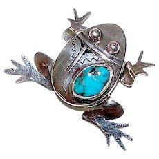 Navajo Bennie Ration Frog Pendant Sterling Silver Kingman Turquoise Singed