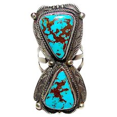 Navajo Blue Diamond Turquoise Ring Size 8 Native American Sterling Silver Statement Piece by Juanita Long