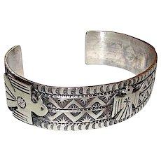 Navajo Thunderbird Cuff Bracelet Hand Etched Design Singed Sterling Silver Derrick Cadman