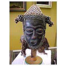 African Beaded Helmet Mask, Lele-Congo, Circa.1920-1940