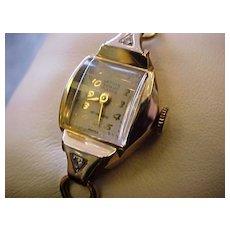 Lathin (Waltham) Ladies 14K Watch with Diamonds, 1940's 17 jewel