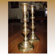 "Brass  ""Beehive"" Candlesticks (pr.) Pushups C. 12"" 1850"